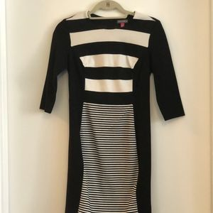Vince Camuto black and white striped dress
